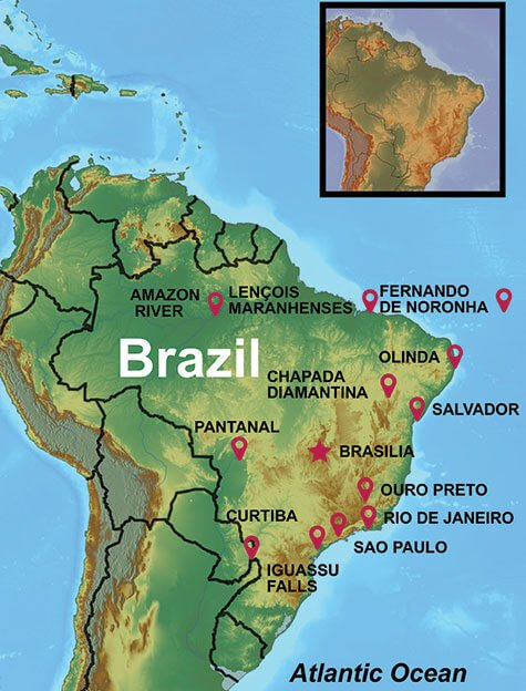 Map of some of our Brazil Tours, some often feature exploring the Pantanal