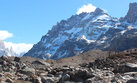 view from under the giant Cerro Torre of Patagonia