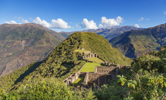 Old Choquequira ruin on hill