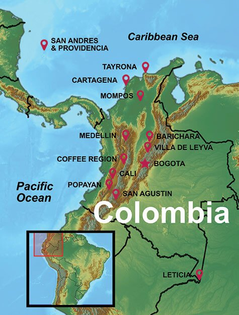 Map of our Colombia Tours