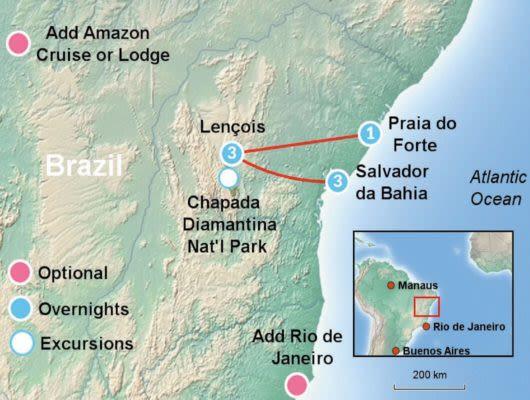 Diamonds Itinerary Map
