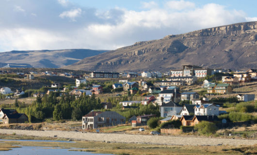 view of El Calafate center and surrounding mountains