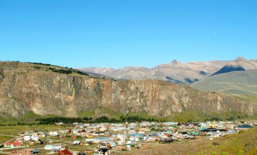 aerial view over El Chaltén base camp Patagonia
