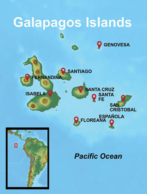 Map of your Galapagos Islands Cruises