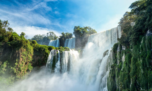 Shot from below Iguazu Falls