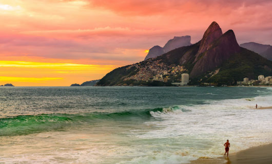 Sunset over Ipanema Beach in Rio