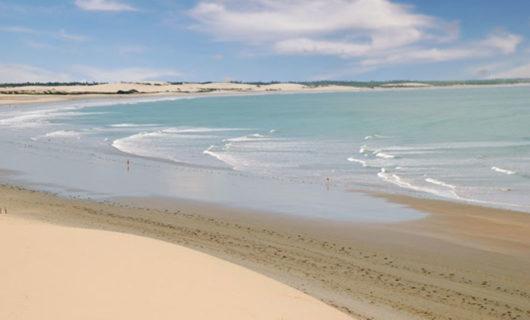 calm sandy beach on sunny day Jericoacoara