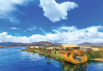 Reed boats on Lake Titicaca Peru