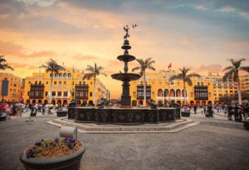 Plaza in Lima Peru at sunset