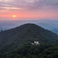 Beautiful aerial view over Mashpi Lodge at sunset