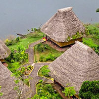 Aerial view over Napo Lodge rooms and lake