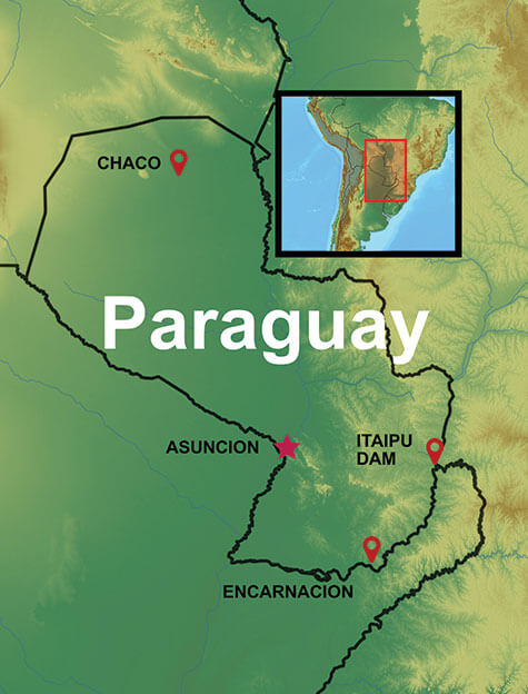 Map of our Paraguay Travel Packages