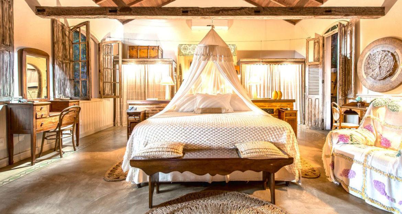 Beautiful hotel bedroom at the Pousada Toca da Coruja Brazil Beach Resort