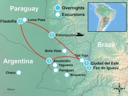 Tour Map Paraguay