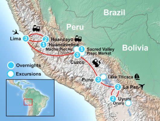 Peru and Bolivia Train Tour Itinerary Map