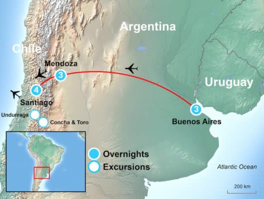 Tour Itinerary Map Chile and Argentina food