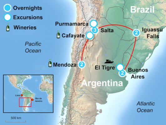 Argentina Land of Contrast Itinerary Map