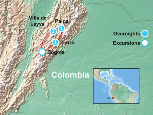 Map of Colombia Itinerary