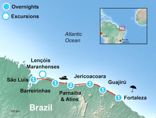 Brazilian Beach itinerary Map