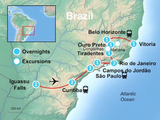 Brazil Historic Tour Map