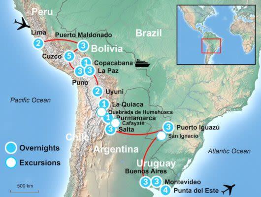 Coast to Coast itinerary Map