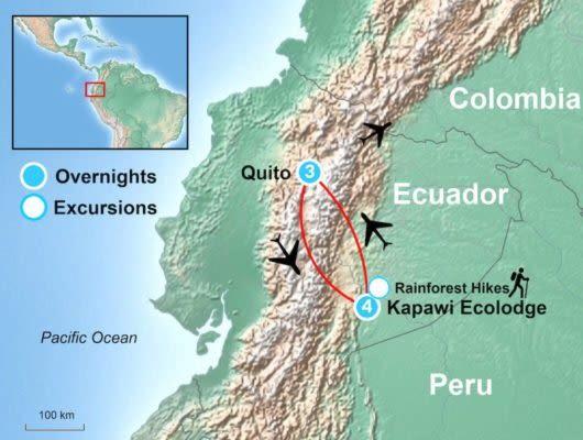Ecuador Amazon tour map