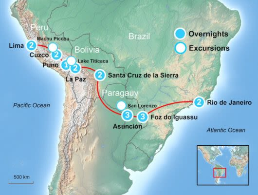Machu Picchu to Rio map itinerary
