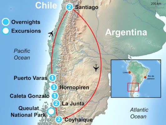 Tour Map Northern Patagonia