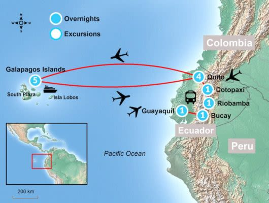 Galapagos Tour Itinerary Map
