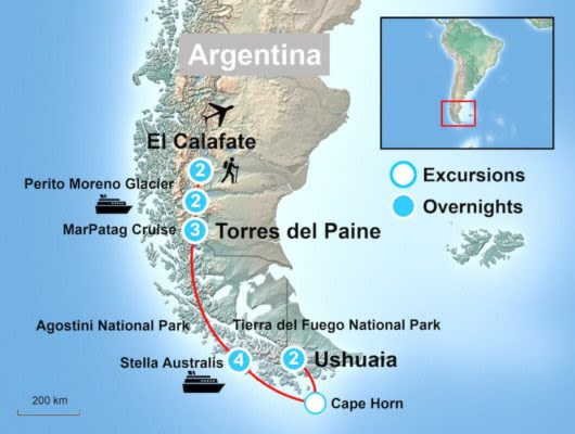 Torres del paine tour itinerary and Ushuaia