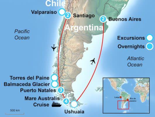 Tour Map Santiago and BA
