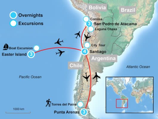 Tour Map of Chile Highlights
