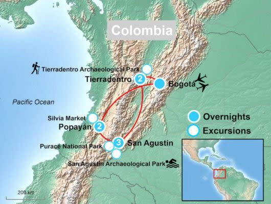 Colombia Archaeology Tour Map