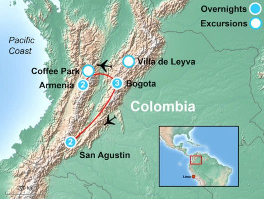 Tour Map of Colombia Highlights