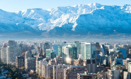 View of Santiago City and Andes