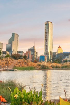 Santiago-skyline-at-Bicentenario-Park