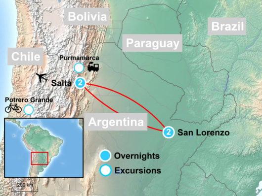 Salta Argentina Adventure Tour Map