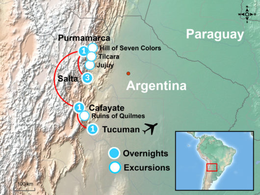 Northern Argentina Tour Map