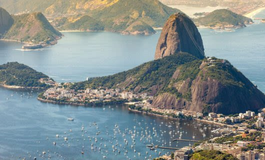 Aerial view of Sugarloaf mountain and bay of Rio