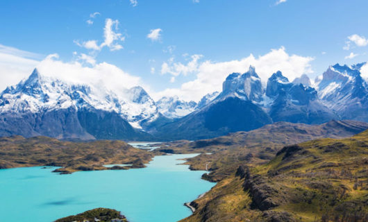Incredible view over lake and Torres Del Paine pinnacles