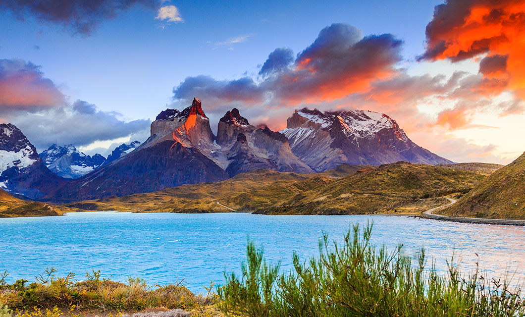 Torres Del Paine and Blue Lagoon at sunset