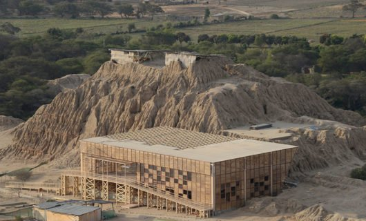 Aerial view over Tucume Museum