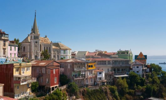 View of Valparaiso and ocean in background