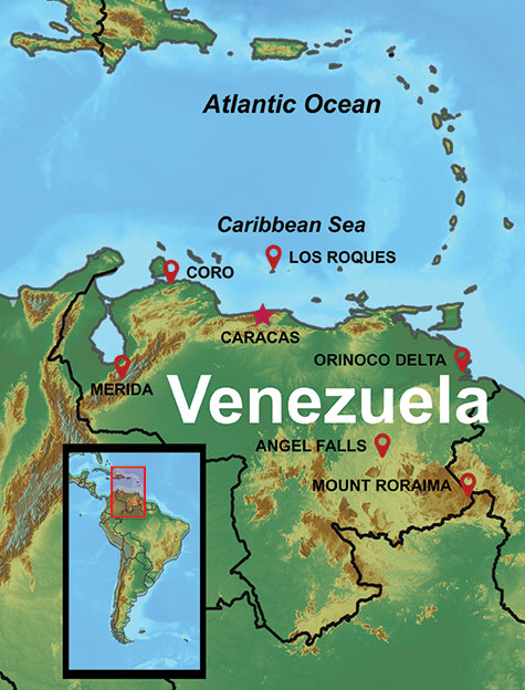 Map of our Venezuela Vacation Destinations