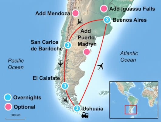 Best of Argentina itinerary Map