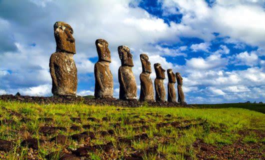 Ahu Akivi Moais statues on Easter Island