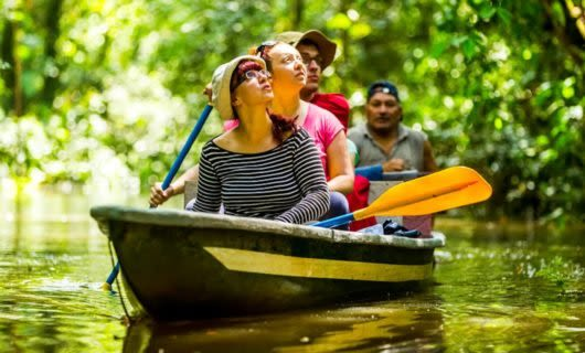 Group of travelers on boat on the Amazon