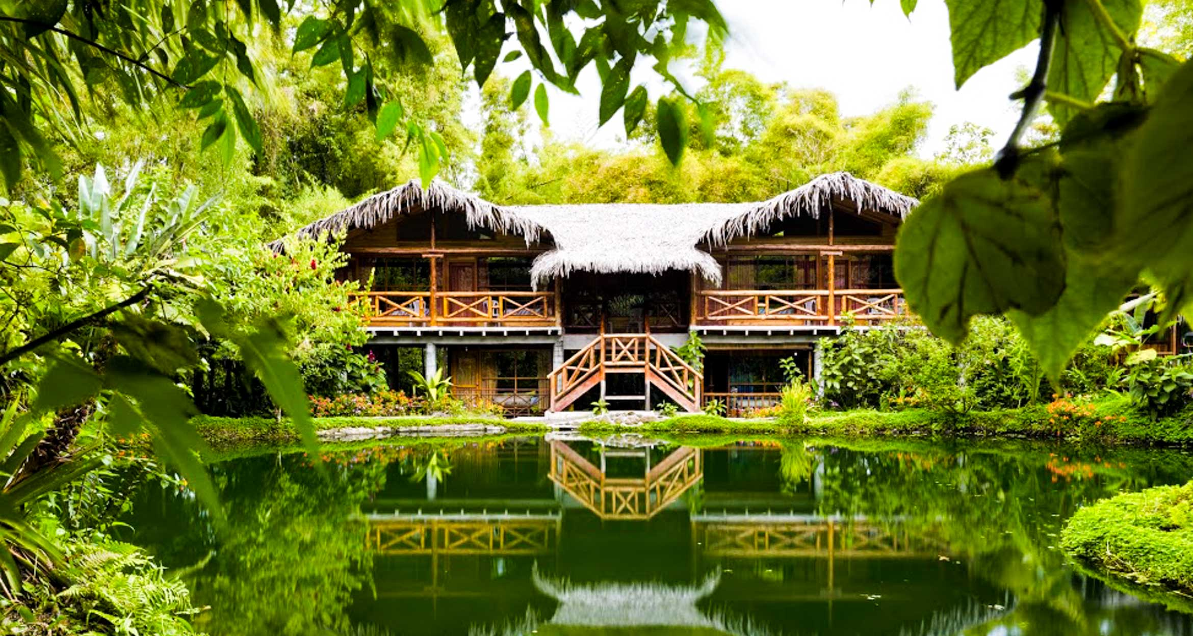 Lodge next to water in Amazon jungle