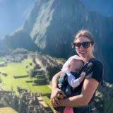 Mom and daughter at Machu Picchu on a sunny day