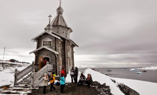 Small building on Antarctica shore